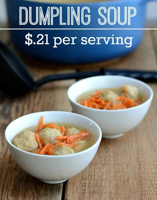 This kid-friendly, whole grain dumpling soup recipe is delicious and easy to make. It's also very affordable at a cost of just $.21 per serving.