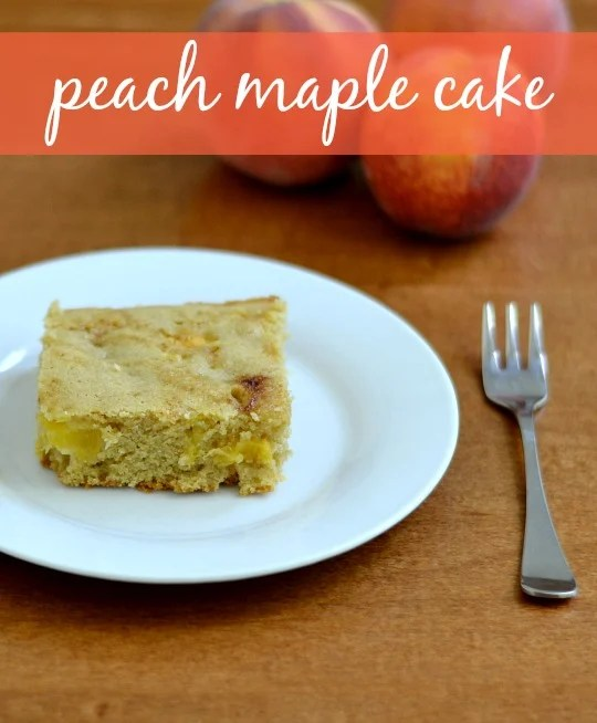 This peach maple cake is a delicious, healthy dessert that highlights the flavor of fresh peaches. It's a great recipe for snack time or dessert.