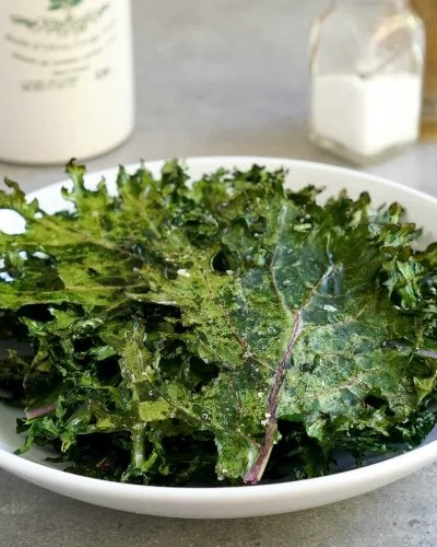 Baked kale chips are an easy side dish.