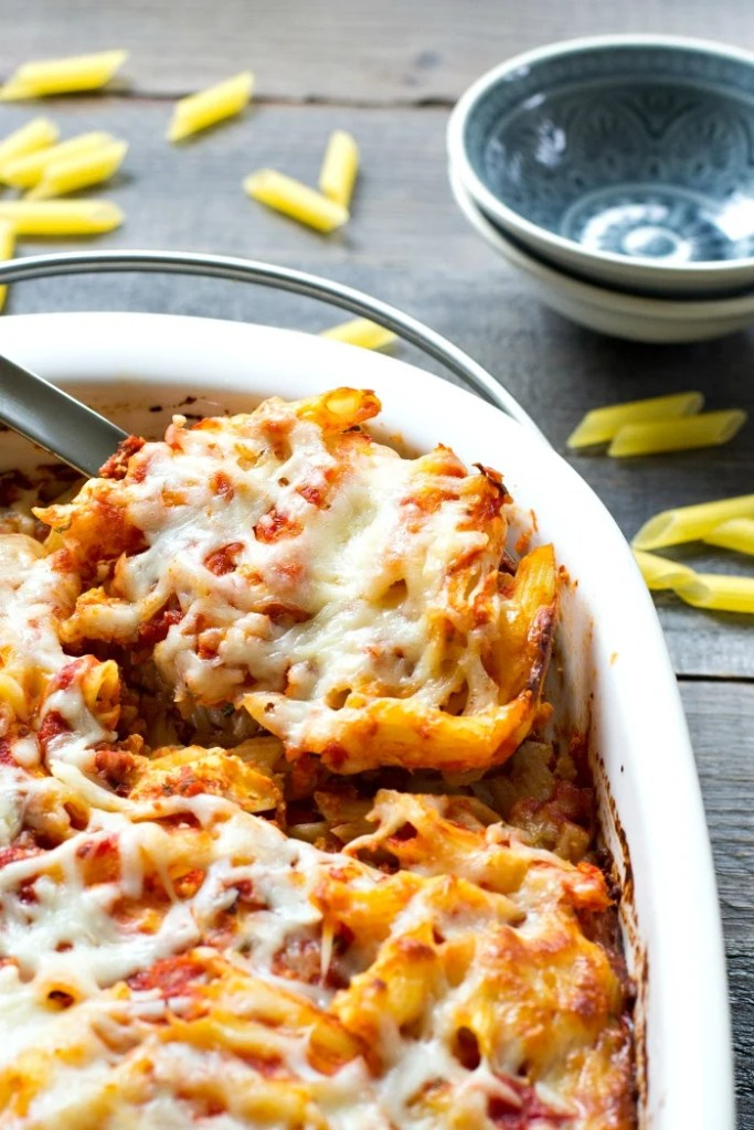 This baked pasta casserole is a delicious, flavorful, FRUGAL dinner recipe. Just $.74 per serving! Recipe from realfoodrealdeals.com