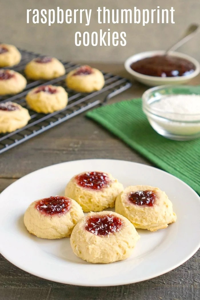These raspberry thumbprint cookies are a delicious, healthy dessert or snack. This is an easy recipe to make for a Christmas cookie swap.