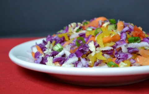 I love to put all the colors of the rainbow in my cole slaw! This Rainbow Citrus Slaw is a bright, delicious, healthy recipe full of veggie goodness. Recipe from Real Food Real Deals.