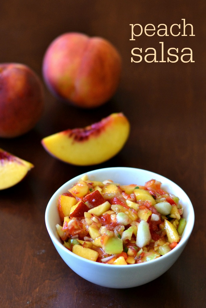 This peach salsa is a delicious, healthy recipe that gives great flavor to fish, chicken, or a bowl of tortilla chips. Great to have on hand in the fridge!