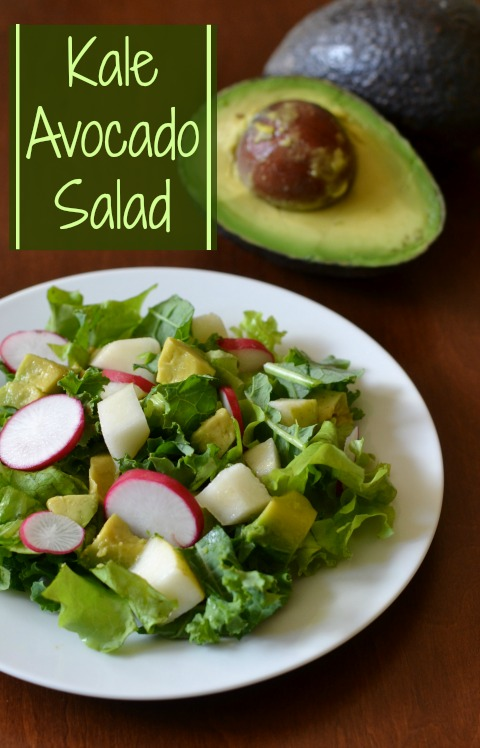 This Kale Avocado Salad is a delicious, healthy vegan side dish. I love the dressing! Recipe from Real Food Real Deals