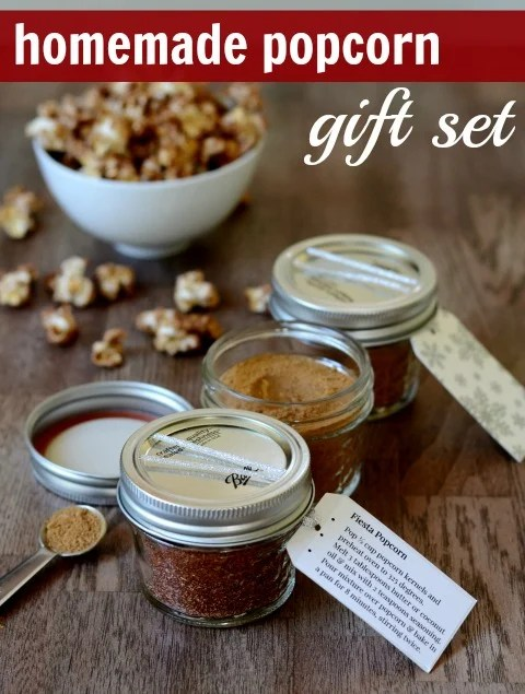 This homemade popcorn gift set includes three delicious seasoning mixes.