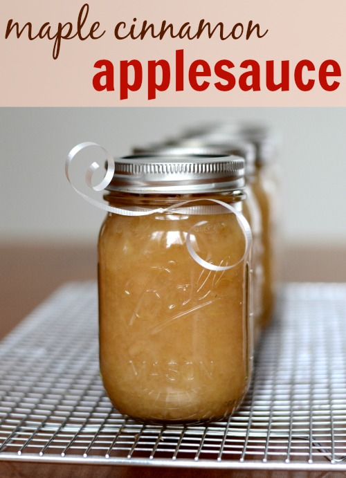 This maple cinnamon applesauce is so, so good! If you don't eat it all right out of the pot, you can give some away as a homemade Christmas gift. Recipe from Real Food Real Deals.