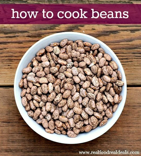 If you have a frugal grocery budget, you should learn how to cook beans. It's so easy, and there are surprising benefits! Recipe from Real Food Real Deals.