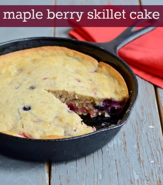 I love this Maple Berry Skillet Cake! It's a rustic, delicious, healthy snack. Recipe from Real Food Real Deals.