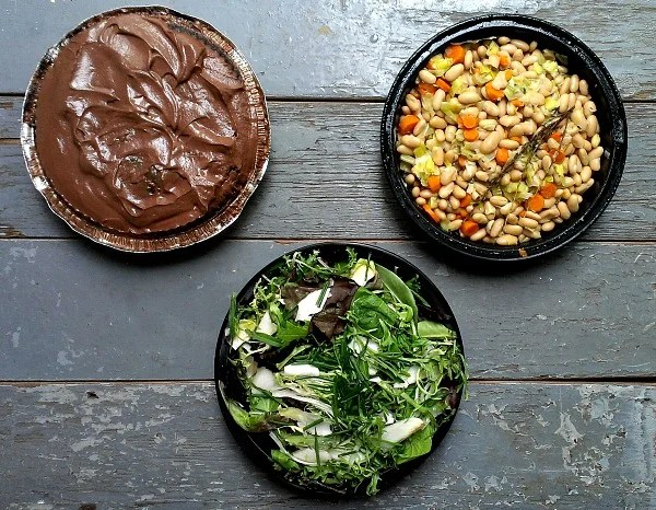Day One of cooking camp was vegetarian cassoulet, greens with mustard vinaigrette, and chocolate mousse cake.