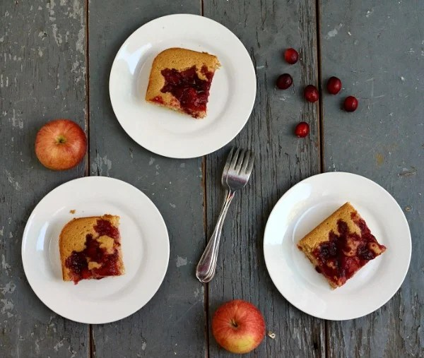 Cranberry Apple Coffee Cake on plates rfrd
