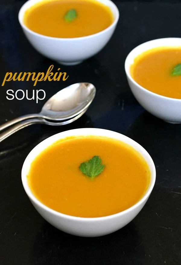 This smooth, creamy pumpkin soup recipe is a fall and winter classic. Pin it to your comfort food board and try it on a cold night! Recipe from Real Food Real Deals.