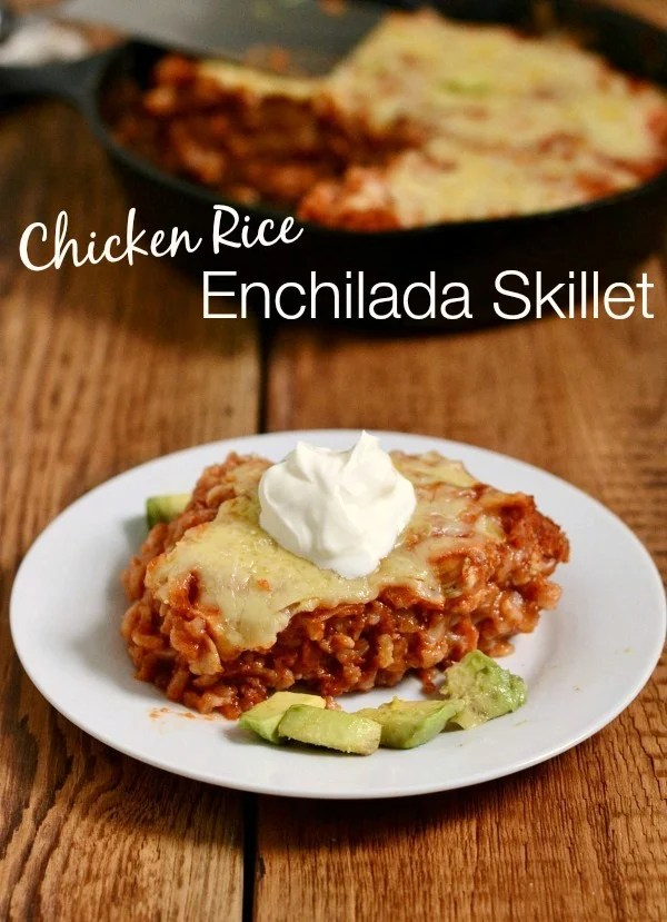 This Chicken Rice Enchilada Skillet recipe is the perfect healthy dinner! It's on the table in 30 minutes, and everyone will love it.