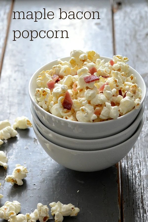 Maple Bacon Popcorn is irresistible! This healthy snack recipe makes a crowd-pleasing appetizer that everyone will be talking about.