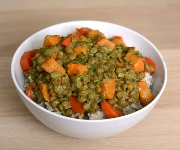 Lentil Sweet Potato Curry, a frugal vegan dinner recipe
