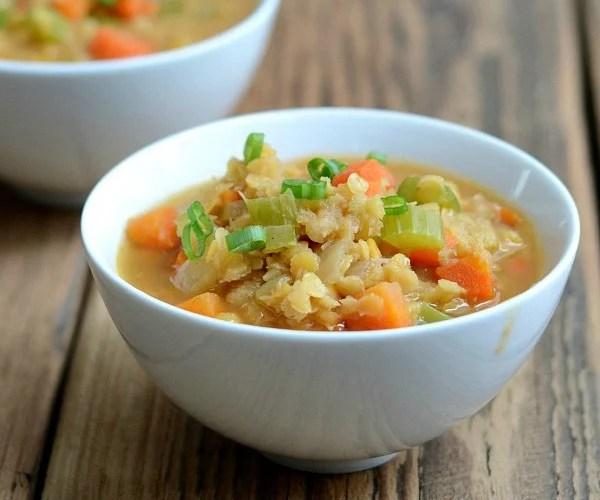 Smoky red lentil stew, a frugal, healthy vegan recipe