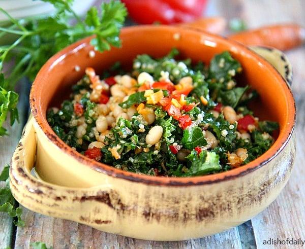 Lemony kale quinoa salad, fresh from the farm
