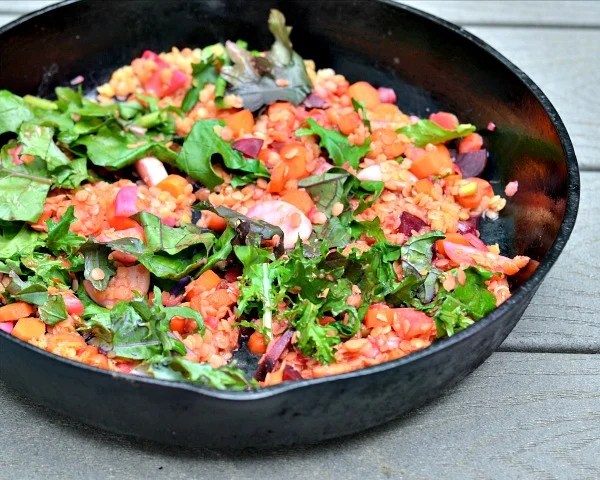 This lentil farm share skillet is the perfect recipe to use up a bunch of miscellaneous veggies from the farm.