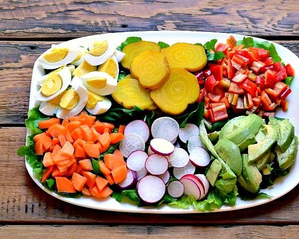 Vegetarian Chef's Salad, a delicious recipe full of farm fresh vegetables