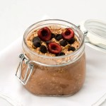 Chocolate overnight oats in a jar