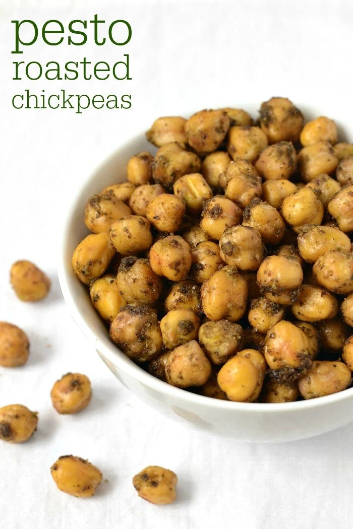 This Pesto Roasted Chickpeas recipe is a unique, healthy snack. Full of protein, nutrients, and great flavor, this is delicious on its own or on a salad.