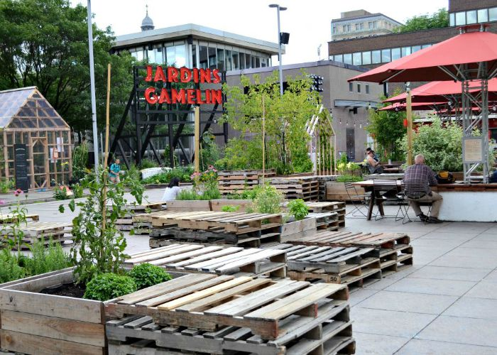 Jardins Gamelin is a great pop-up urban garden, cafe, and stage in downtown Montreal.