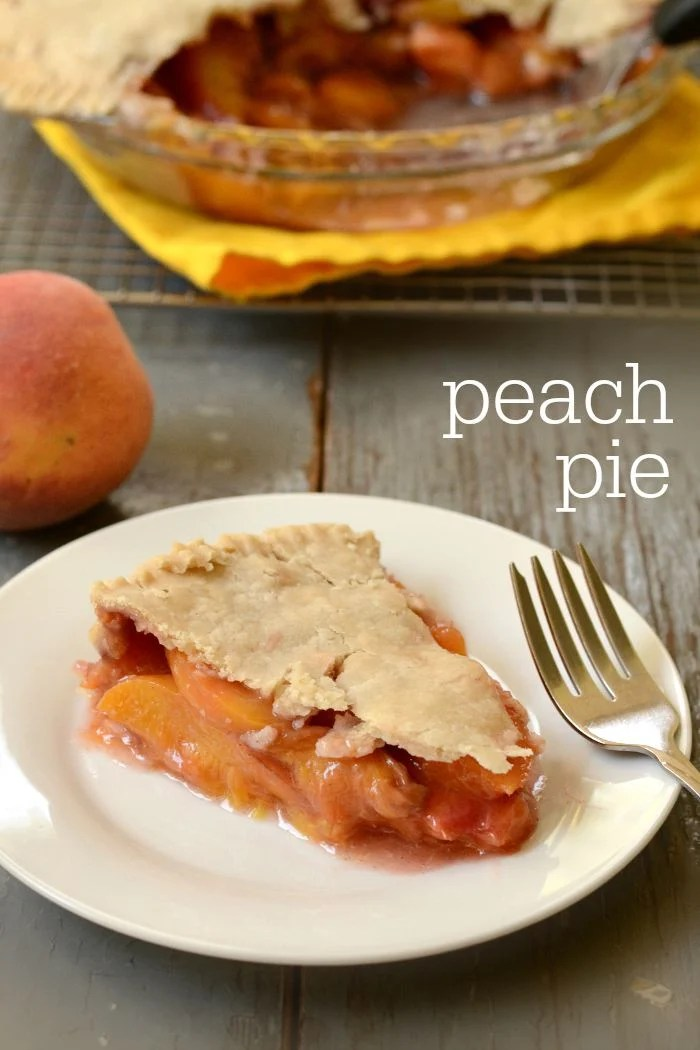 This easy peach pie recipe is a classic dessert to enjoy during peach season. The homemade crust and sweet peach filling make this the perfect comfort food. My family loves it!