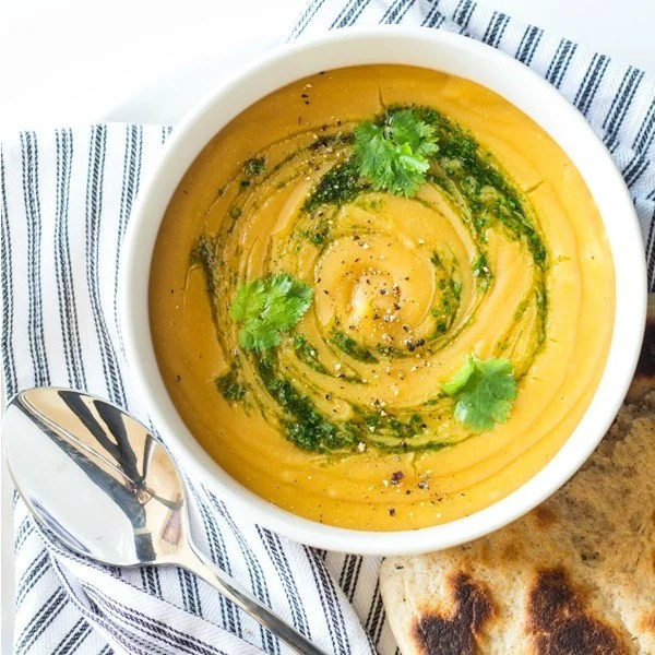 Red Lentil Sweet Potato Soup, a healthy dinner on a budget