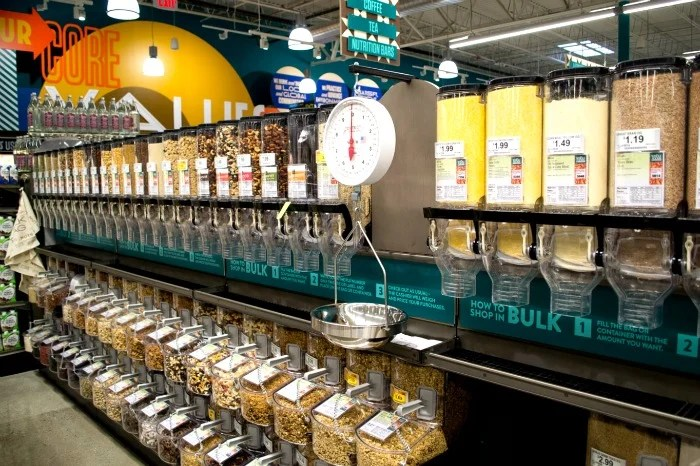 Bulk bins at Whole Foods Market in Westford MA