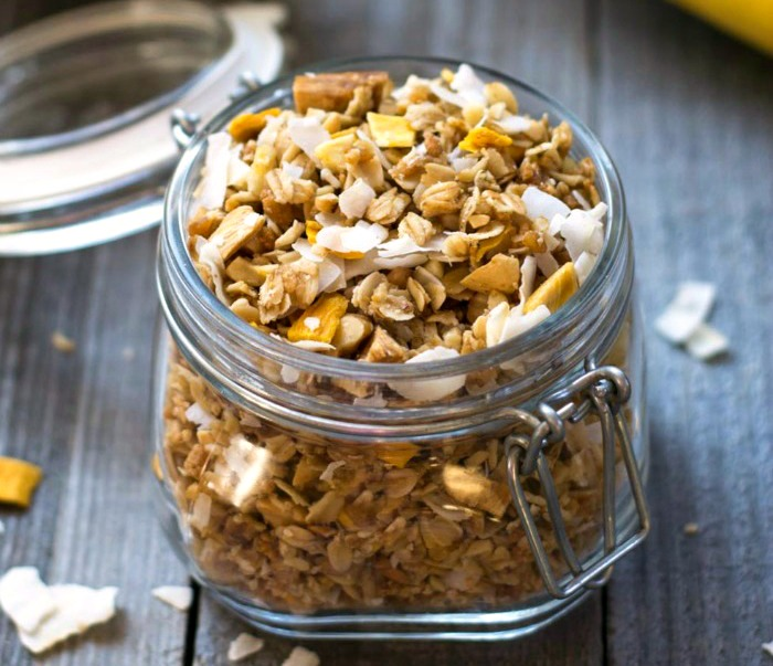 Healthy tropical granola snack