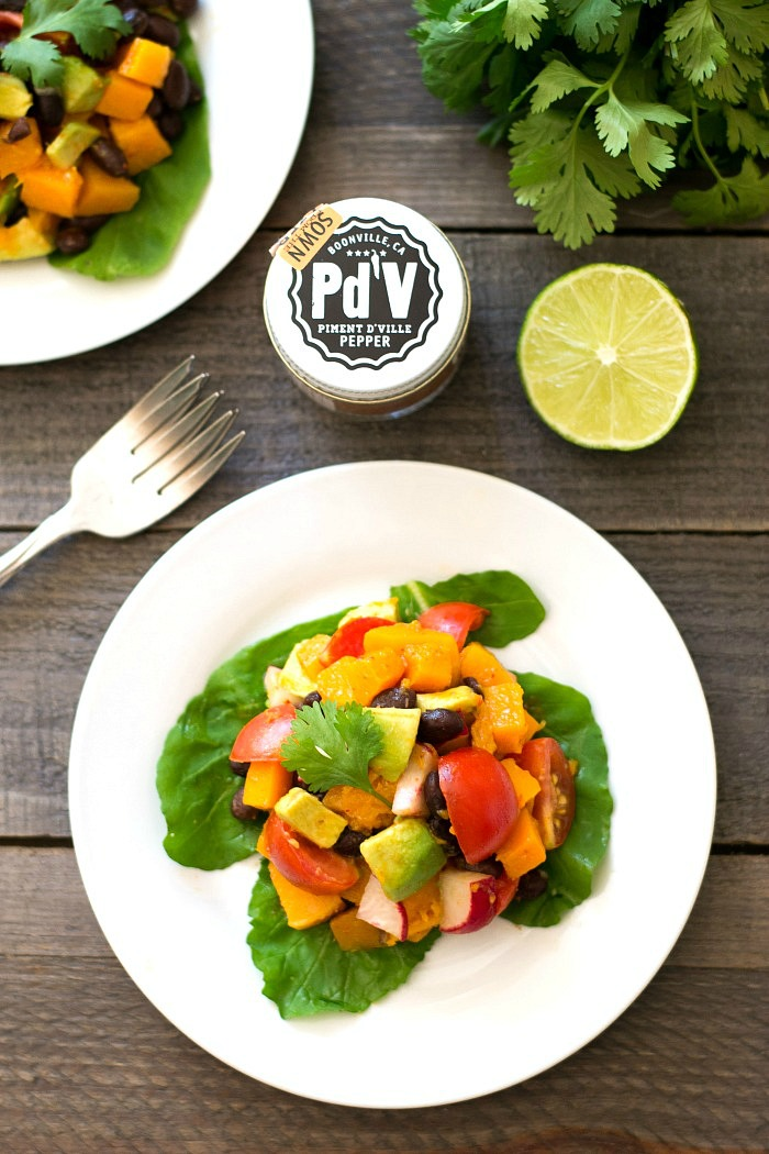 This butternut squash taco salad is a healthy, delicious vegan recipe that highlights specialty chili powder and olive oil from the Chefs Warehouse. Recipe via realfoodrealdeals.com
