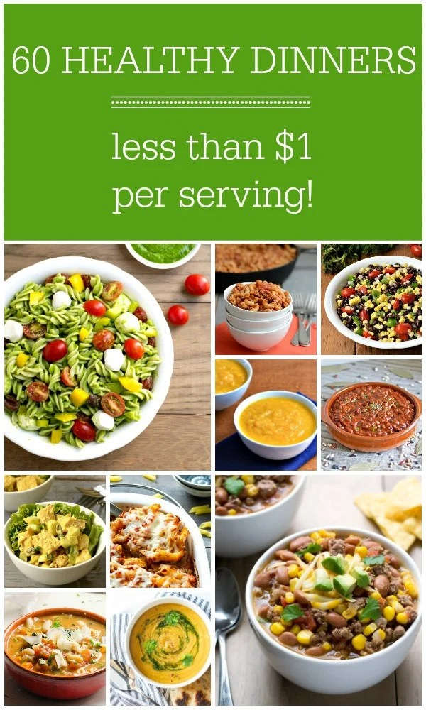 Collage of healthy frugal meals
