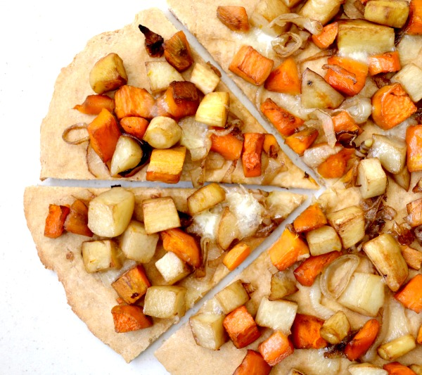 Roasted vegetable pizza is a great frugal dinner!