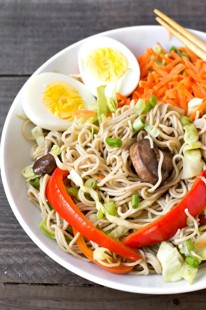 This healthy ramen bowl recipe is a delicious, hearty vegetarian meal full of nutritious ingredients. Lots of flavors and textures in one bowl!