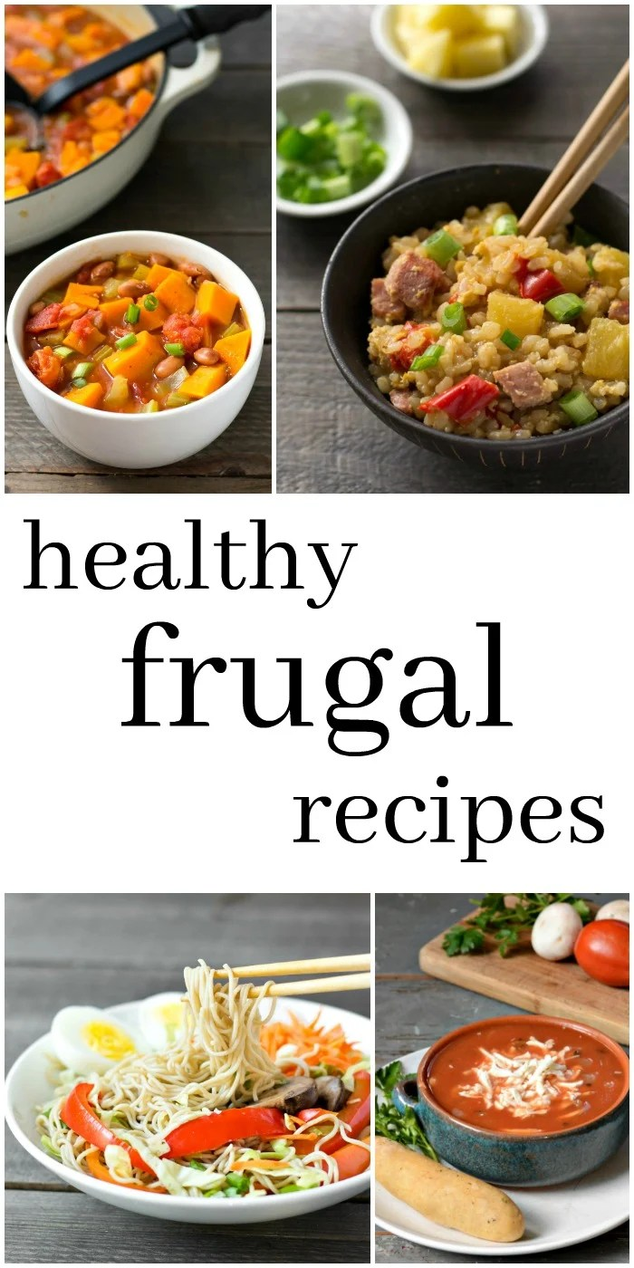 These healthy frugal recipes are so helpful when you're trying to stick to a grocery budget. All these easy meals cost less than $1.50 per serving. Recipes from realfoodrealdeals.com