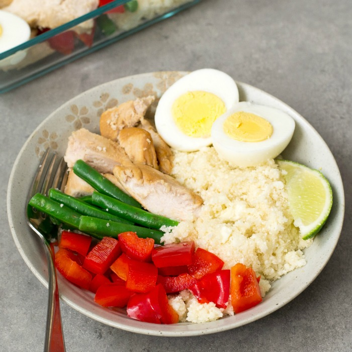 Do meal prep on Sunday and have this ginger lime chicken with cauliflower rice for lunch all week!