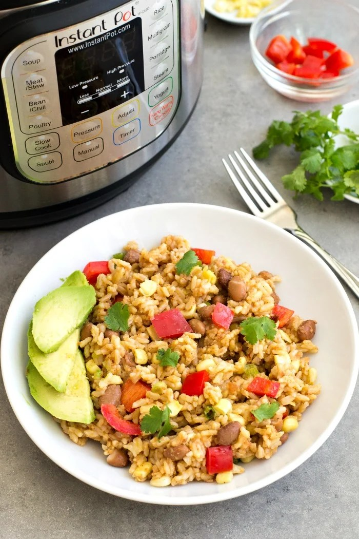 This Instant Pot pinto beans and rice recipe is such an easy one to make for a quick meal. I love having a batch on hand for healthy lunches throughout the week.