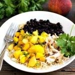 These peach mango burrito bowls are so delicious for a light summer dinner. Sweet and savory flavors come together in this healthy recipe.