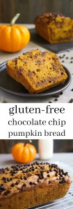 This gluten free chocolate chip pumpkin bread is an easy, delicious treat for snack time. Try this healthy recipe for the perfect taste of fall!