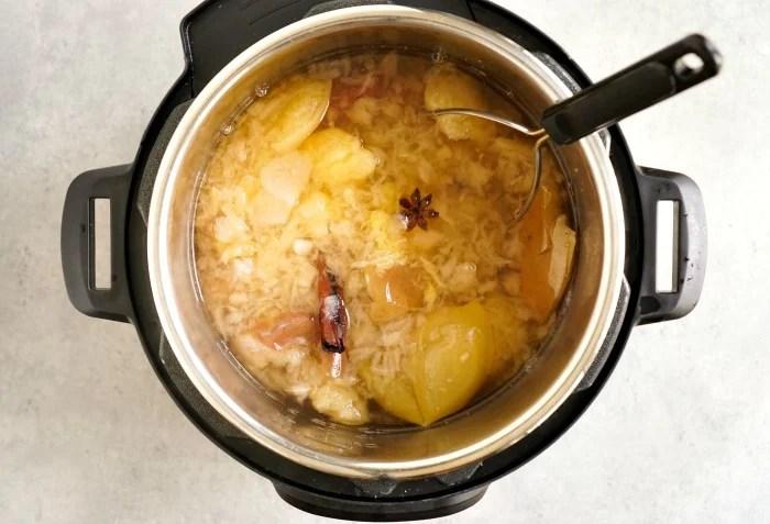 Instant Pot apple cider ingredients after mashing