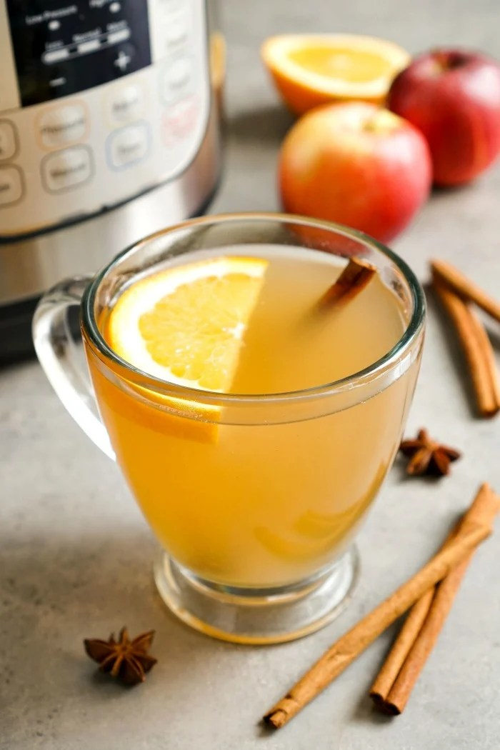 This homemade Instant Pot apple cider is such a delicious drink recipe! It's an easy sweet treat for the holidays or any time of year. Gluten-free, vegan
