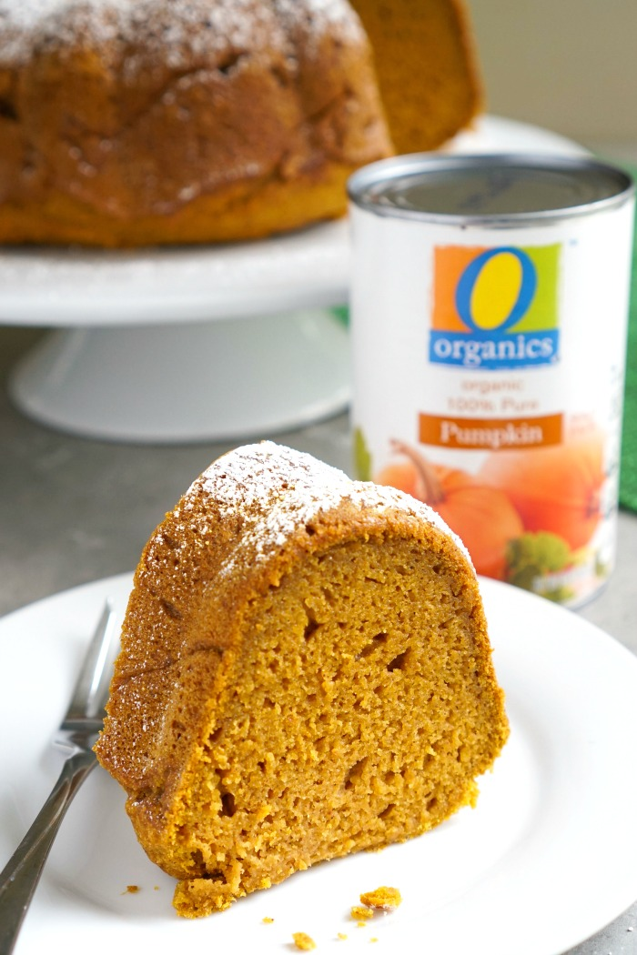 This pumpkin gingerbread Bundt cake is a delicious holiday dessert that will feed a crowd. It has a beautiful presentation and great flavor, too! (gluten-free, dairy-free)