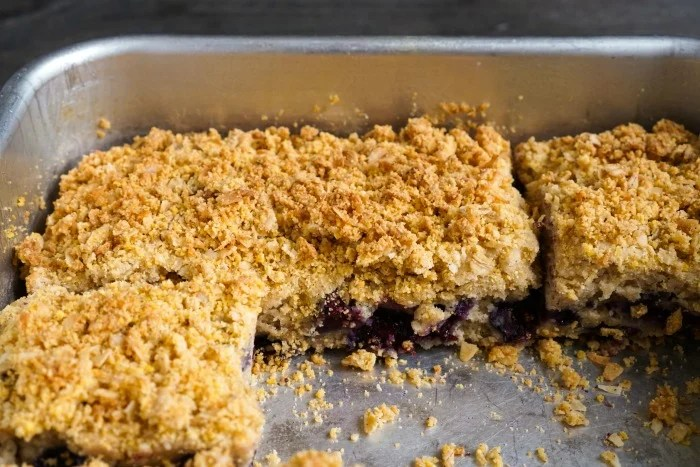 Gluten-free blueberry crumb cake in the pan