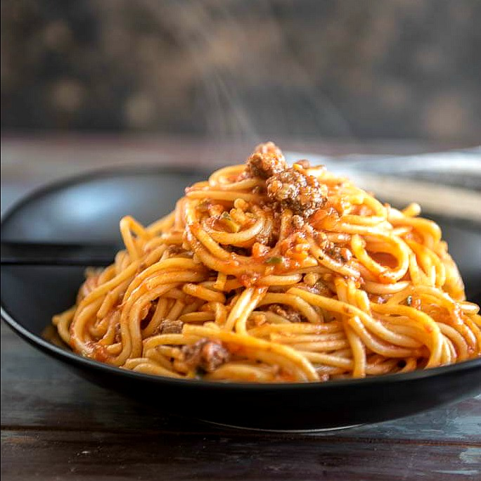 Instant Pot veggie packed spaghetti with meat sauce
