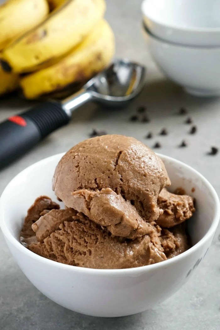 This chocolate banana ice cream is such an easy, healthy dessert recipe! You can make this no-churn ice cream with just three simple ingredients. (gluten-free, vegan)