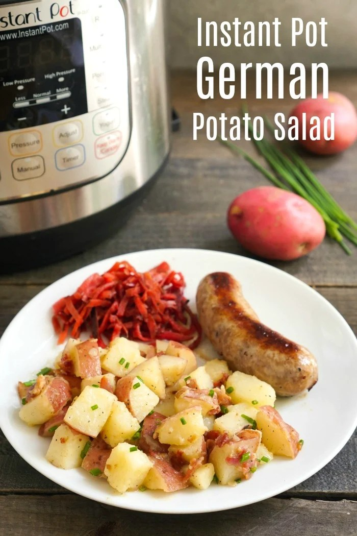 This Instant Pot German potato salad features a bacon dijon vinaigrette. It's a delicious, healthy side dish that can be served warm or cold.
