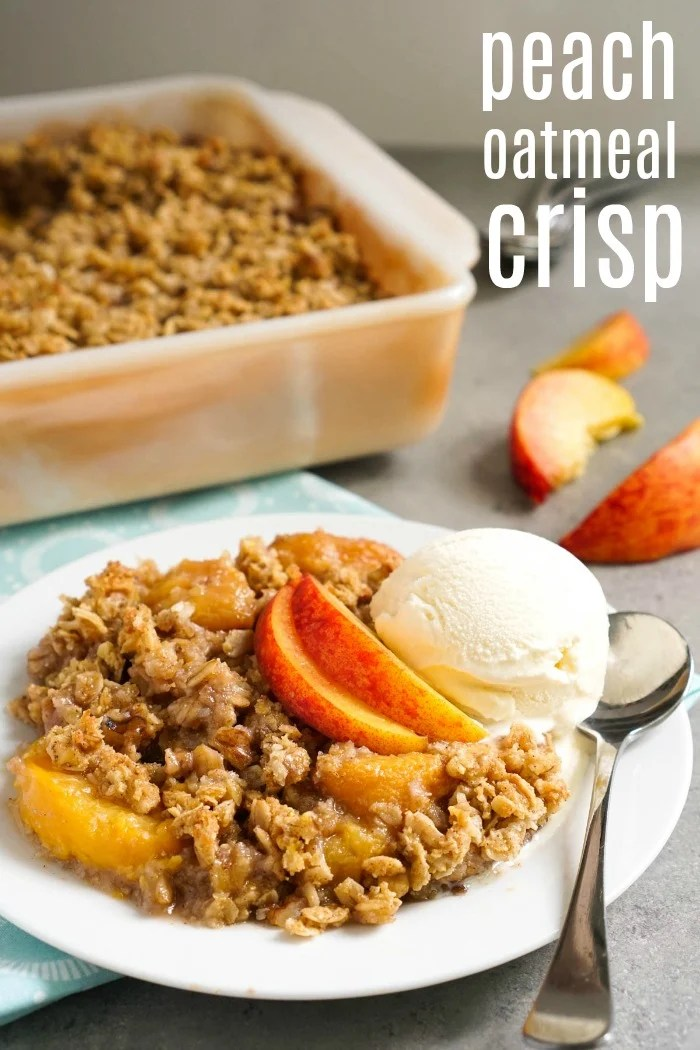 This peach oatmeal crisp recipe is a delicious, healthy dessert that can be served warm or cold. You could even get away with serving it for breakfast! Recipe from @realfoodrecipes realfoodrealdeals.com #Glutenfree #Vegan #realfoodrealdeals