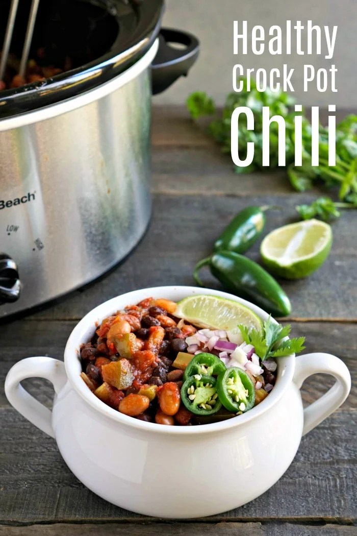 This healthy Crockpot chili is such an easy vegan dinner recipe for a busy night. It's a cozy combination of beans and vegetables in a flavorful sauce.