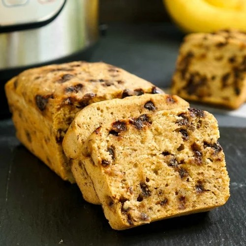This Instant Pot banana bread with chocolate chips is so easy and delicious!
