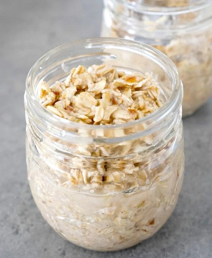 Apple pie overnight oats soaking in a jar