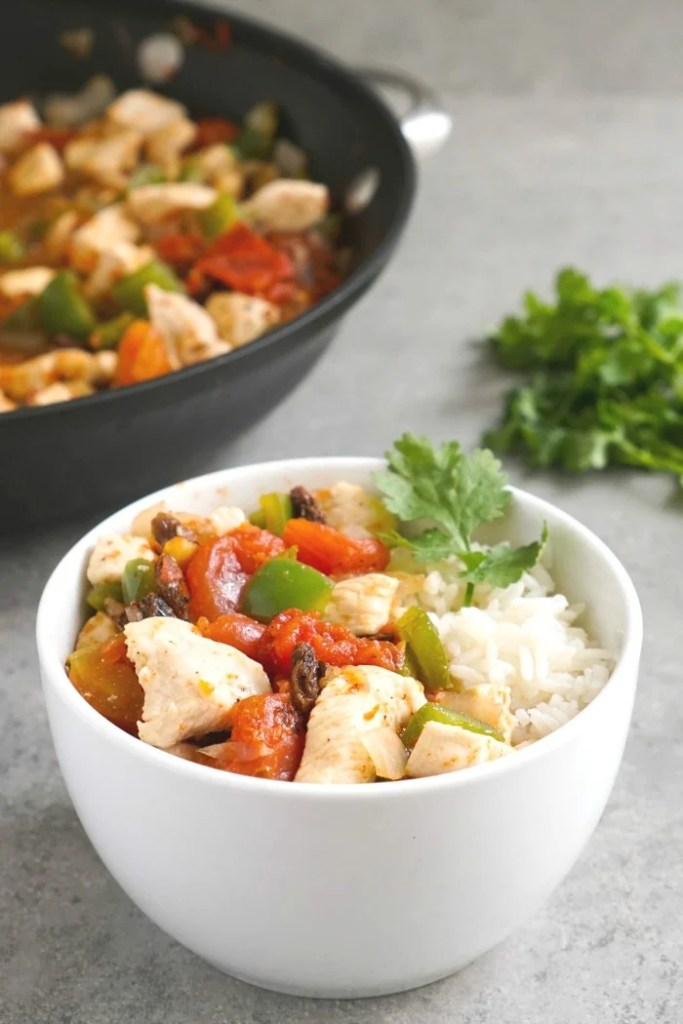 This chicken picadillo is an easy, healthy Mexican dinner recipe.